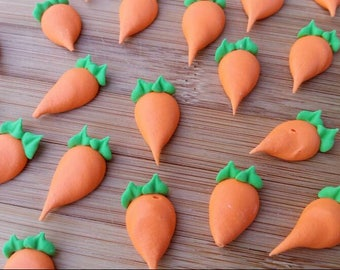 Royal icing carrots -- Made to Order -- Edible handmade cake decorations cupcake toppers (12 pieces)