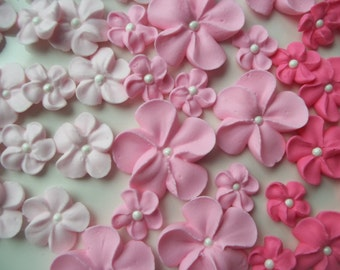 Made to order | 2 dozen royal icing pink flowers | Ombre cake | 3 sizes | Sugar flowers | Edible cake decorations | Cupcake toppers