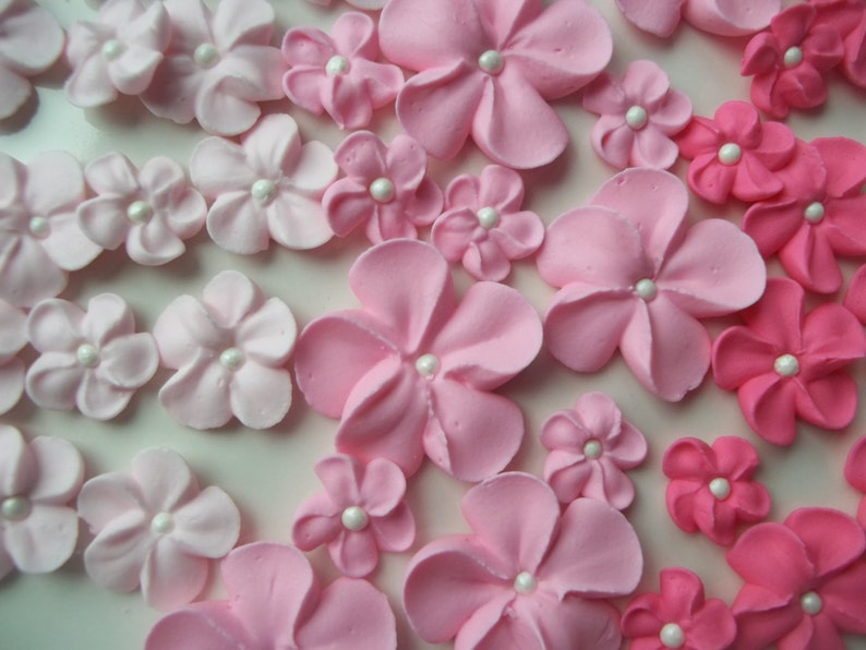 2 dozen royal icing pink flowers  Ombre cake  3 sizes  image 0