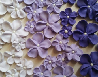 Shades of purple ombre flowers -- Made to Order -- Edible cake decorations cupcake toppers (24 pieces)