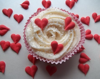 Royal icing hearts  -- Made to Order -- Edible cake decorations cupcake toppers (24 pieces)