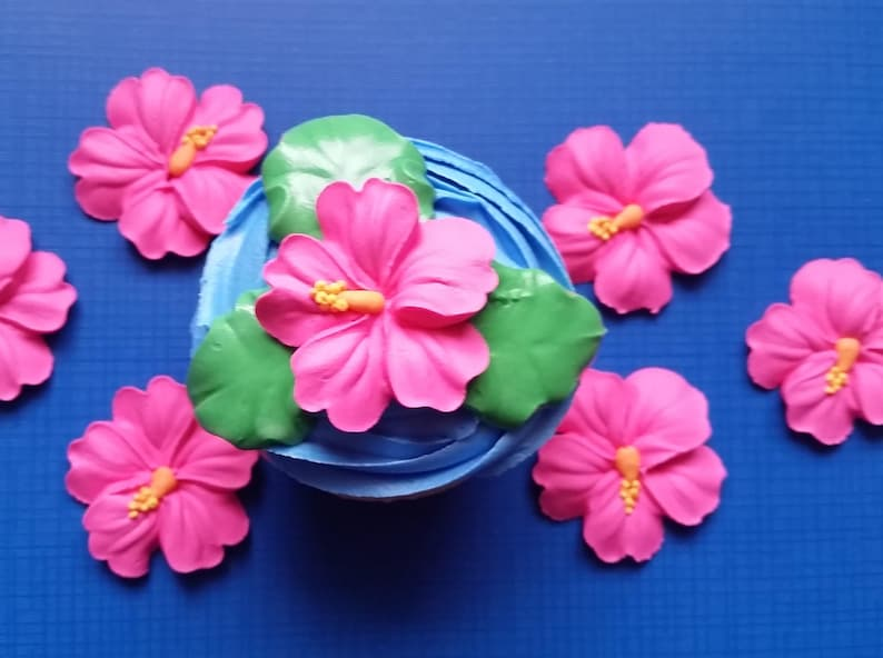 Extra Large Royal Icing Pink Hibiscus Flowers Edible Cake Etsy