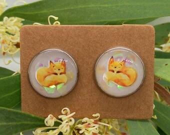 Sleepy little fox stud earrings - uv resin  - handmade - stainless steel, animal, nature, woodlands, glitter