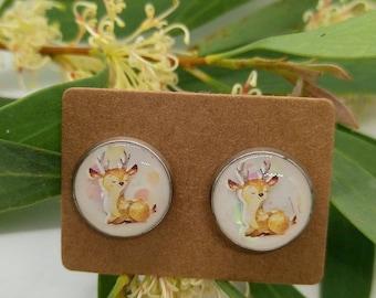 Cute little deer stud earrings - uv resin  - handmade - stainless steel, animal, nature, woodlands, glitter