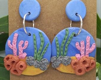 Ocean and Coral scene stud earrings - polymer clay  - handmade - sea beach underwater