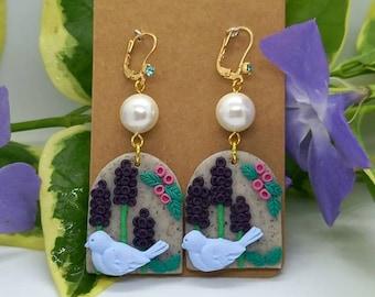 Handmade Polymer clay Earrings - garden - bird - nature - floral
