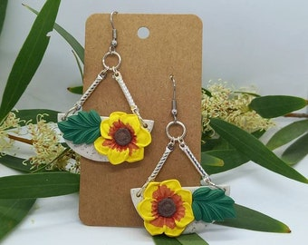 Bright yellow basket of flowers earrings - polymer clay  - handmade - statement flower classic dangle leaves