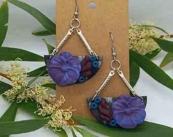 Purple flower pansy earrings - polymer clay  - handmade - statement flower classic dangle