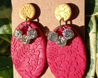 Handmade Polymer clay Christmas Earrings - red - gold - sparkly - studs - festive