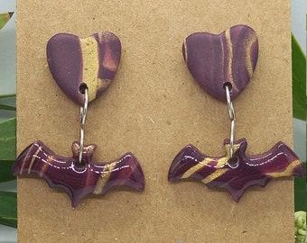 Bat and love heart stud earrings - polymer clay  - handmade