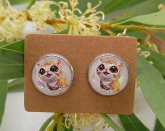 Cute little kitten stud earrings - uv resin  - handmade - stainless steel, animal, nature, woodlands, glitter, cat