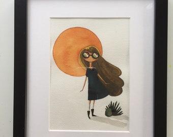 Desert shadow original watercolor framed