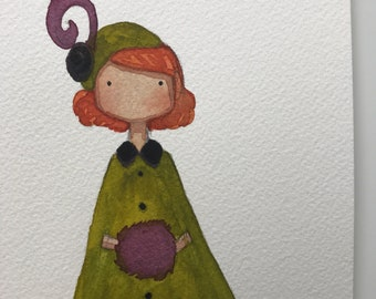 Fancy lady original watercolor