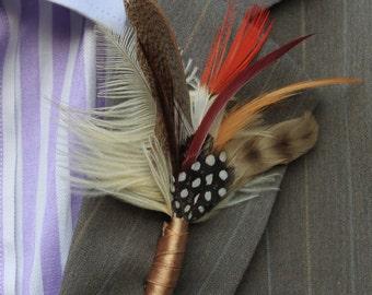 Classic, Feather Boutonnière, (Buttonhole) - Wedding Boutonnieres, Groom