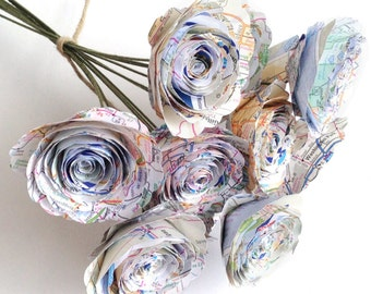 Paper Map Roses - Flowers for Travelers made from Atlas Pages - Colorful Birthday and Anniversary Gift - Handmade Alternative Bouquet