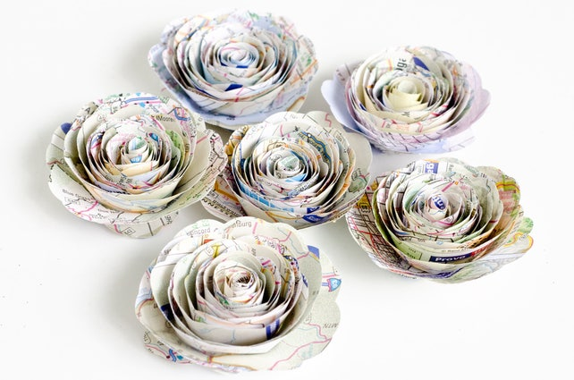 Stemless Map Roses Set Of Flowers Made From Atlases Travel