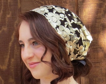 Head Cover - SCT49 - Embroiered Gold Floral on Back Mesh Christian Headcovering Headband Headscarf with Ties