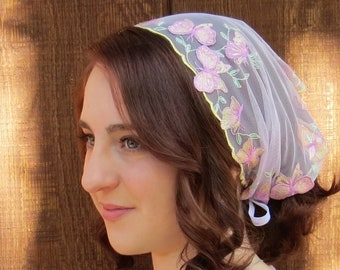 Head Cover - SCT46 - 3D Embroidered Butterfly Lilac Mesh Christian Headcovering Headband Headscarf with Ties