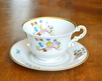 Vintage China ~ Old Ivory Coventry Syracuse Footed Teacup & Saucer