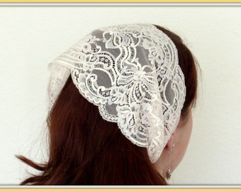 Church Head Scarf SCT14 - Headband Headcovering with Ties in Soft Blush Lace