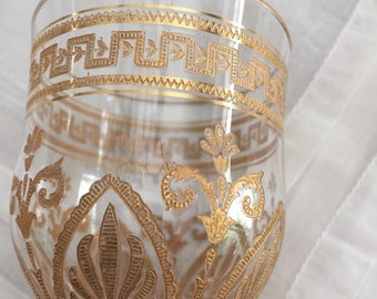 5 Rare Antique French Saint Louis Crystal Wine Cordials w Encrusted Gold Engraving