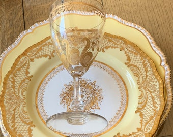 RESERVED SOLD 4 Antique English Dinner Plates w Gold Medallion