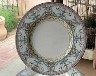 12 Antique Lavender Minton Dinner Plates w Turquoise Scrolls