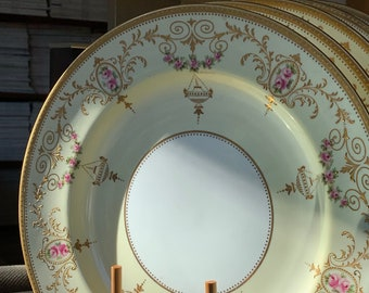 RESERVED SOLD 5 Antique Encrusted Gold Wedgwood Dinner Plates w Pink Roses