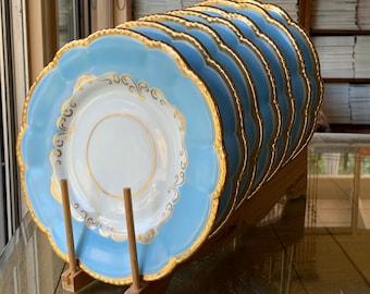 7 Antique Sky Blue Grainger Worcester Dinner Plates