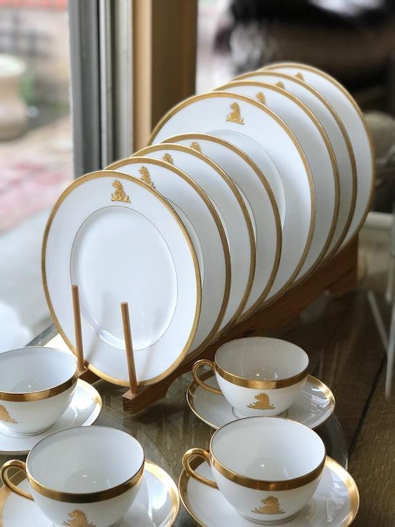 16pc dîner ensemble deux tons jaune blanc vaisselle assiettes bols tasses service pour 4