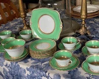 32Pc Antique Art Deco  Tuscan Green Tea Set For 8
