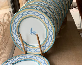 11 Enameled Dessert Plates With Double Aqua  Bands