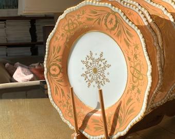 8 Rare Antique Davenport Dinner Plates w Encrusted Gold Overlay Medallion and Mellon Border