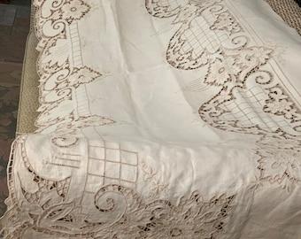 RESERVED SOLD Vintage Ecru Madeira Linen Tablecloth w Napkins