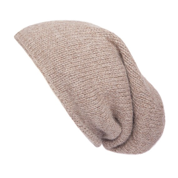 49b5a47ebf9 100% Alpaca Wool Slouchy Beanie Hat Hand knitted Light
