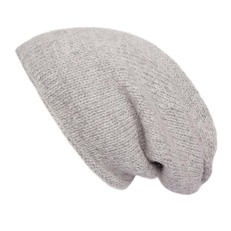 f45ce5c9c13 100% Alpaca Men s Slouch Beanie Hat Light grey Hand