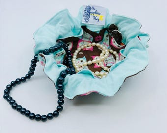 Drawstring Travel Jewelry Pouch / Satchel - Brown with Pink and Mint Owls and Mint Flannel