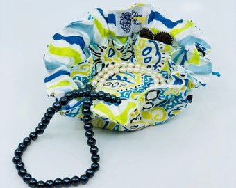 Drawstring Travel Jewelry Pouch / Satchel - Aqua and Green Floral with Aqua and Green Chevron Flannel