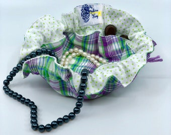 Drawstring Travel Jewelry Pouch / Satchel - Purple and Green Plaid with Green Polka Dot Flannel