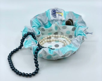 Drawstring Travel Jewelry Pouch / Satchel - Grey and Robin Egg Blue Polka Dot with Grey and Robin Egg Blue Argyle Flannel