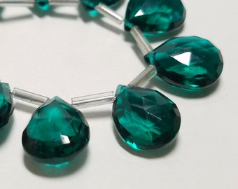 Emerald Green Hydro Quartz Micro Faceted Pear Briolette Beads 13mm - 14mm