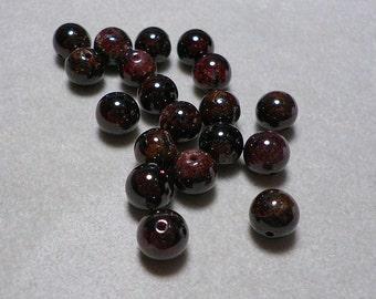 Dark Red Garnet Round Beads 10mm
