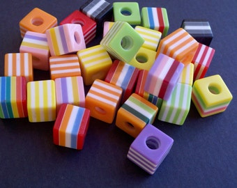 Square striped beads