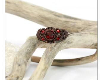Thin Metal teardrop rings 11x16mm 22x31mm single rings Micromacrame rings - set of 2 17x25mm Macrame metal rings
