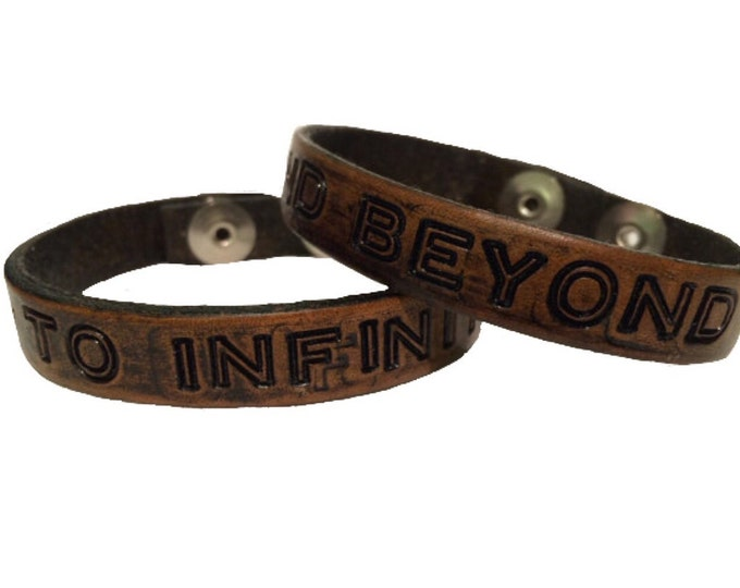 Featured listing image: Matching Bracelets For Couples, Personalized Leather Bracelet, Handstamped Couples Bracelet, to infinity and beyond bracelet