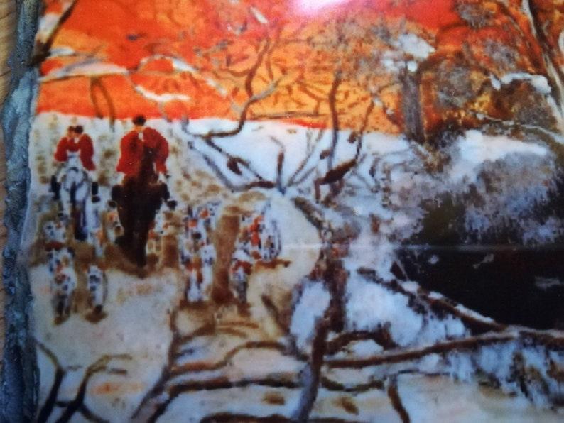fox  hunting scene on a slate. Run with the fox