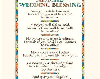 "Apache Wedding Blessing, 11x14"" wedding blessing print, wedding gift, calligraphy print"