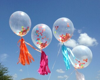 Multi color  Confetti Balloon WITH Tassel Tail prefilled confetti balloons