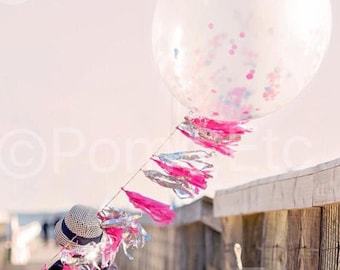 """Jumbo Confetti Balloon 36"""" With Tassel Garland - ANY COLOR you choose"""