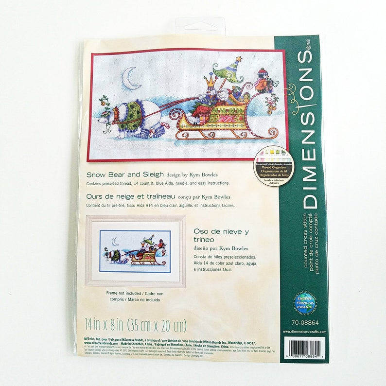 Snow Bear And Sleigh Dimensions Craft Counted Cross Stitch Etsy